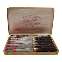 Vintage set of Six Sheffield Steak Knives in Original Case 1950-60s Good Vintage Condition