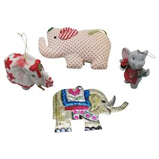 Four Vintage Elephant Hanging Christmas Tree Ornaments 1980-90s Good Condition