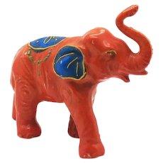 Vintage Ceramic Elephant Figurine with Enamel Paint 1930s Good Vintage Condition