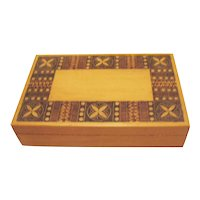 Vintage Pyrography Folk Art Wood Box Made in Poland 1930-50s Good Condition