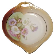 Vintage Germany Hand Painted Nut/Candy Dish Flower Decal 1920-30s Good Condition