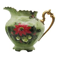 Vintage Lefton Ceramic Pitcher #4389 Poinsettia Motif 1953-71 Good Condition FREE SHIPPING