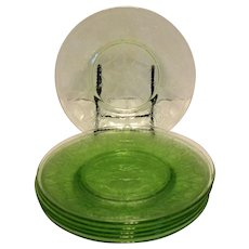 Five Vintage Anchor Hocking 8 ¼ inch Green Depression Glass Luncheon Plates Cameo Pattern 1930-34 Good Condition