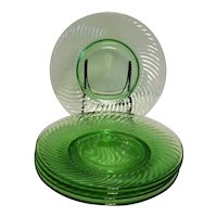 Five Vintage Anchor Hocking 8 Inch Green Glass Depression Luncheon Plates Spiral Pattern 1928-30  Good Condition