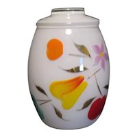 Vintage Bartlett Collins Frosted White Glass Cookie Jar with Gay Fad Motifs 1950s Good Condition