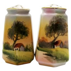 Vintage Nippon Hand Painted S&P Shakers Tree by Cottage Pattern 1891 to 1921 Good Vintage Condition FREE SHIPPING