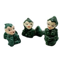 Vintage 3 Pixie/Elf's Christmas Figurines 1950s Good Condition  FREE SHIPPING