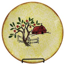 Vintage Blue Ridge Southern Potteries Tree Near Red Barn 9 ½ inches Plate 1938-57 Good Condition