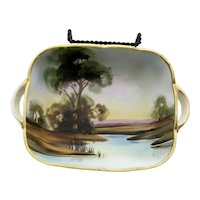 Vintage Nippon Rectangular 2 Handled Bowl Trees & Water Scenery 1891-1921 Good Vintage Condition