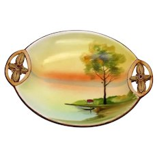 Vintage Hand Painted Nippon Dish Floral For Handles Tree by Cottage Motif 1891-1921 Good Condition