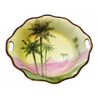 Vintage Hand Painted Nippon Fruit/Berry Bowl 1891-1921 Palm Trees Pyramid Desert Beaded Enamel Edge Good Condition