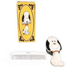 Vintage Avon Snoopy Brush & Com Set Original Box 1972 Never Used Like New Condition