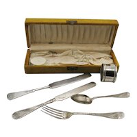 Vintage Antique  Kids Utensils with Original Box Late 1800s to Early 1900s Silver Plated Good Condition