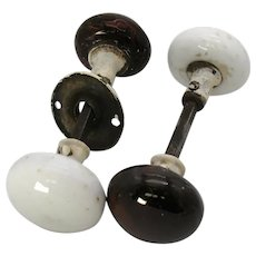 Vintage Two Porcelain Door Knob Sets Brown & White 1910-20 Good Vintage Condition
