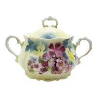 Antique Porcelain Covered Sugar Bowl Lehmann & Son Leuchtenburg Germany Late 1800s Berry Motif Good Vintage Condition