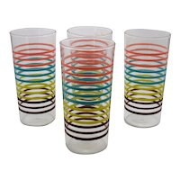 Four Vintage Tumblers with Colored Rings 1950-60s Anchor Hocking Good Condition