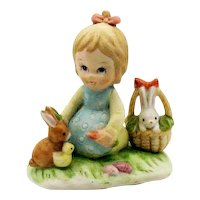 Vintage Lefton Porcelain Little Girl Feeding Rabbits 1985 #04893 Good Condition