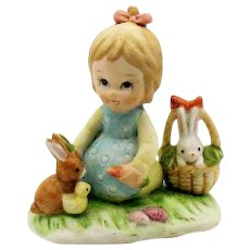 Vintage Lefton Porcelain Little Girl Feeding Rabbits 1985 #04893 Good Condition