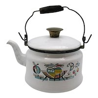 Vintage Enamel Ware Tea Kettle 1960-70s Good Usable Condition