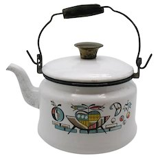 Vintage Enamel Ware Tea Kettle 1960-70s Good Usable Condition