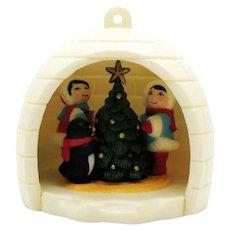 Vintage Avon Igloo Christmas Tree Ornament Original box 1983 Good Condition