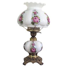 Vintage Fenton Melon Shaped Milk Glass Table Lamp Hand Painted Rose Motif 1960-70s Excellent Working Condition  Vintage