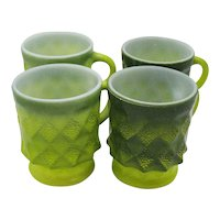Vintage Green Anchor Hocking  Fire King Kimberly Pattern Mugs 1950-70s Good Condition