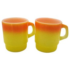 Two Vintage Anchor Hocking Fire King Mugs Orange/Yellow 1950-70s Good Condition