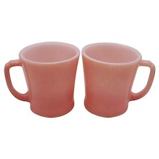 Two Vintage Anchor Hocking Fire King Pink Pastel Mugs 1950-70s Vintage Condition