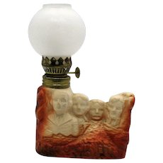 Vintage Mount Rushmore Ceramic Souvenir Kerosene Lamp 1970s Good Condition