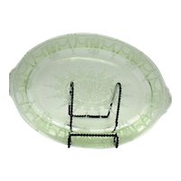 Vintage Anchor Hocking Green Oval Depression Glass Platter Cameo Pattern 1930-34 Very Good Condition