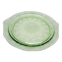 Vintage Anchor Hocking Green Round Depression Glass Platter Cameo Pattern 1930-34 Very Good Condition