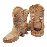 Vintage Frankoma Cowboy Boot & Horseshoe Vases/Bookends 1950s Desert Gold Color Good Condition