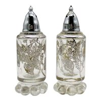 Vintage Imperial Candlewick Shakers with Sterling Silver Overlay Flanders Pattern by Silver City Glass co. Good Condition