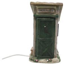 Vintage Porcelain Outhouse Night Light by Transtar Intl. Corp. Good Condition