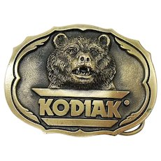 Vintage Advertisement Kodiak Smokeless Tobacco Grizzly Bear Brass Belt Buckle by Am. Buckle Co. Good Condition