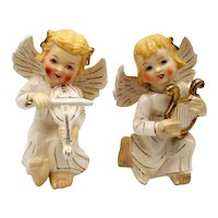Vintage Ceramic Angels Figurines Playing Musical Instruments 1950s Good Condition