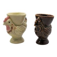 Vintage Pair Ceramic Chicken Egg Cups 1950-60s Good Vintage Condition