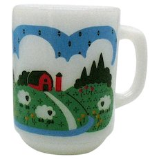 Vintage Anchor Hocking Milk Glass Mug with Farm Scene 1960-70s Good Condition