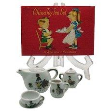 Vintage Childs China Tea Set Complete  Original Box No Damage 1965 Good Condition