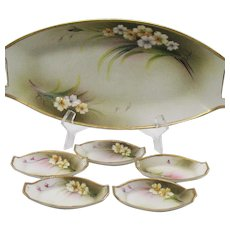 Vintage Nippon Celery Dish with 5 Salts 1890-1921 Good Condition