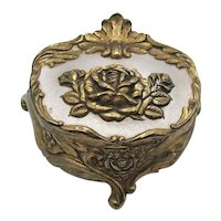 Vintage Repousse Three Footed Jewelry Casket 1950s Very Good Condition
