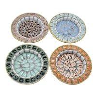 Vintage 4 Mid-Century Round Mosaic Ashtrays/Coasters/Trinket Treys Good Condition