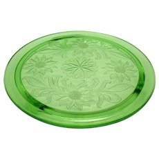 Vintage Jeannette Green Depression Glass Three Footed Cake Plate Sunflower Pattern Good Condition