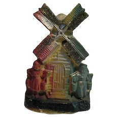 Vintage Carnival Chalkware Dutch Windmill 1930-40s Vintage Condition