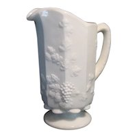 Vintage Westmoreland Milk glass Pitcher Grape and Leaf Pattern 1940-84 Good Condition
