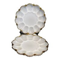 Two Vintage Milk Glass Egg Plates by Anchor Hocking 1940-60s Good Condition
