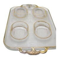 Vintage Jeannette Tray with 4 Coasters/Ashtrays Harp Pattern 1954-57 Good Vintage Condition