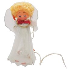 Vintage Angel Tulle Outfit Lights Tree Topper 1960s Good Condition
