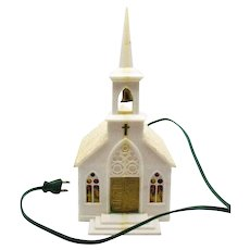 Vintage Plastic Lighted Church Cellophane Windows 1950-60s Vintage Condition